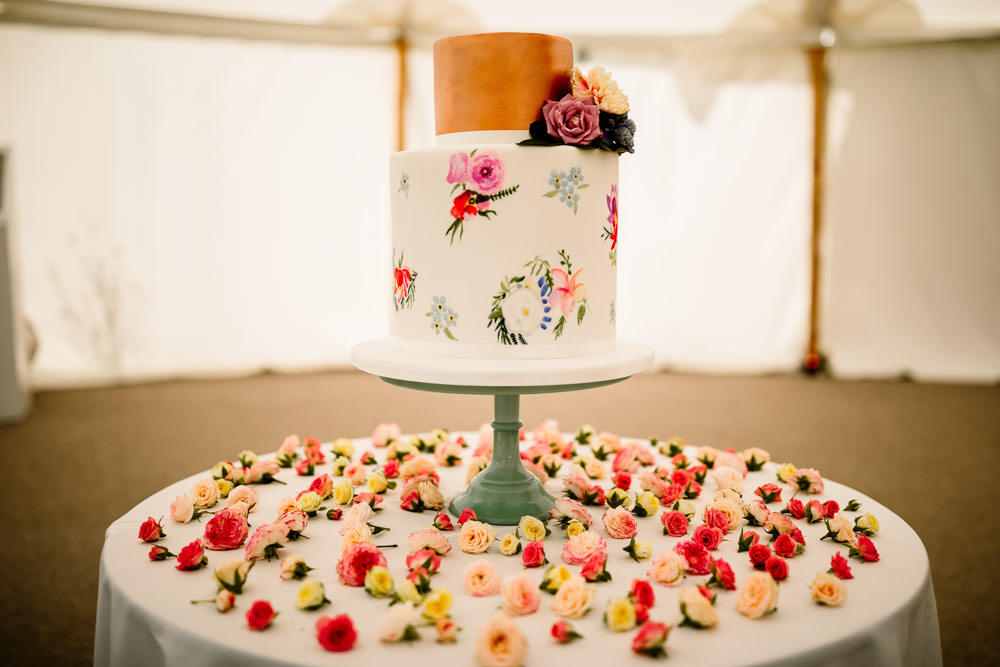 Copper Floral Cake Sperry Tent Wedding Hayley Baxter Photography