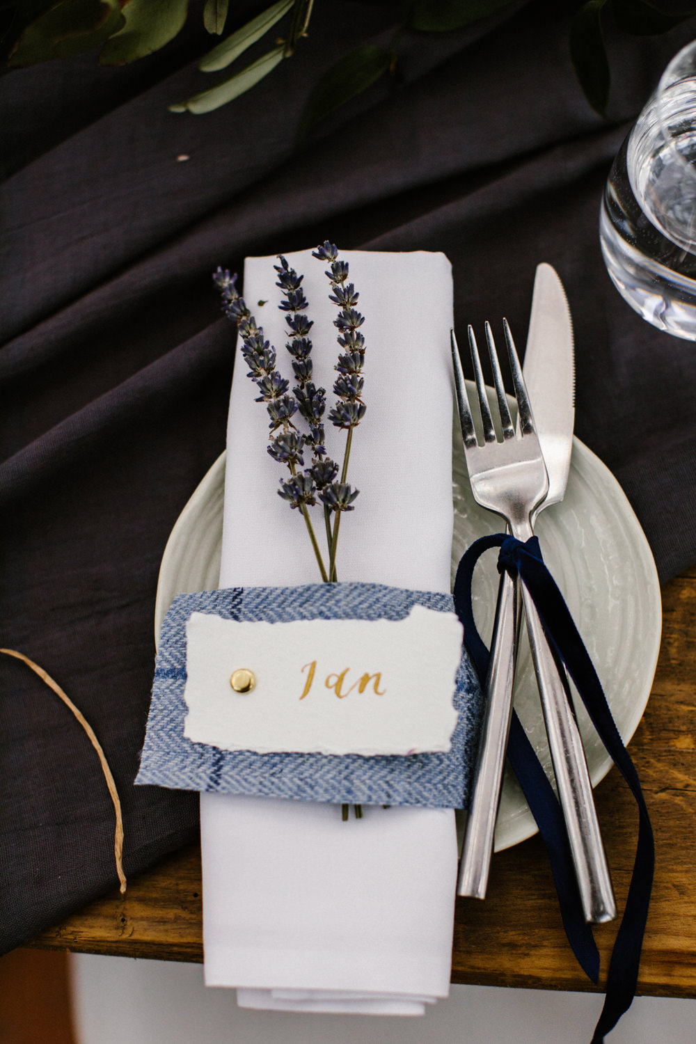 Place Setting Place Name Calligraphy Lavender Ribbon Titchwell Manor Wedding Honey and The Moon Photography