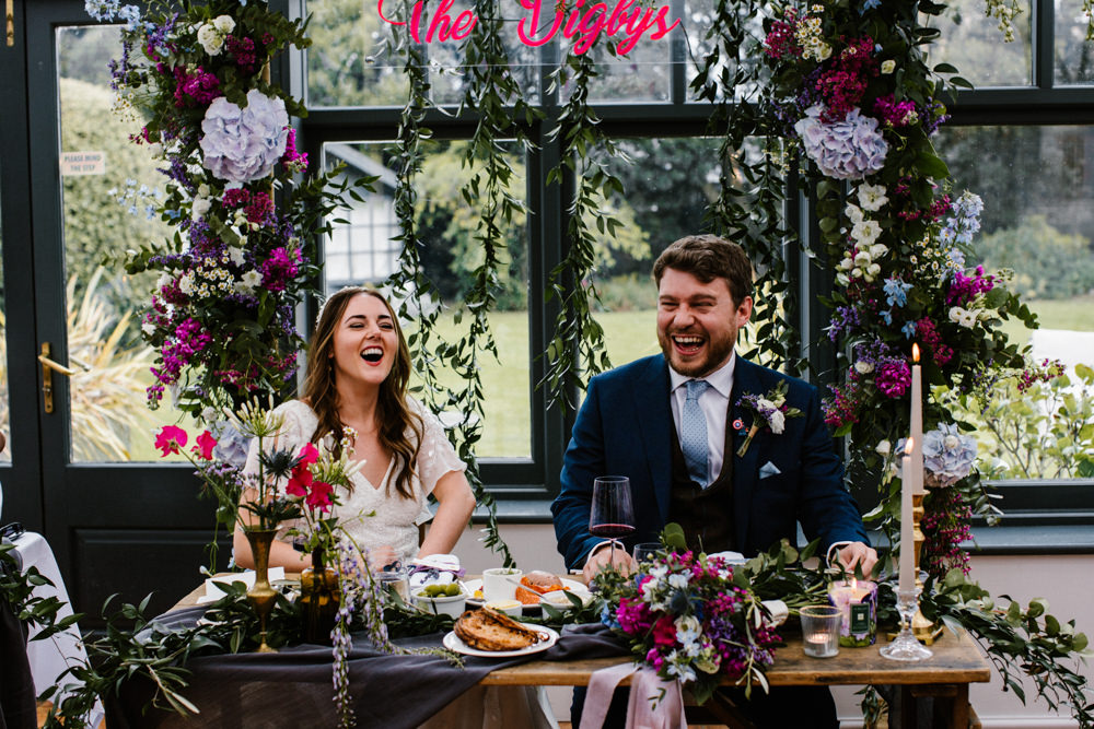 Flower Arch Backdrop Top Table Sign Hydrangea Wisteria Titchwell Manor Wedding Honey and The Moon Photography