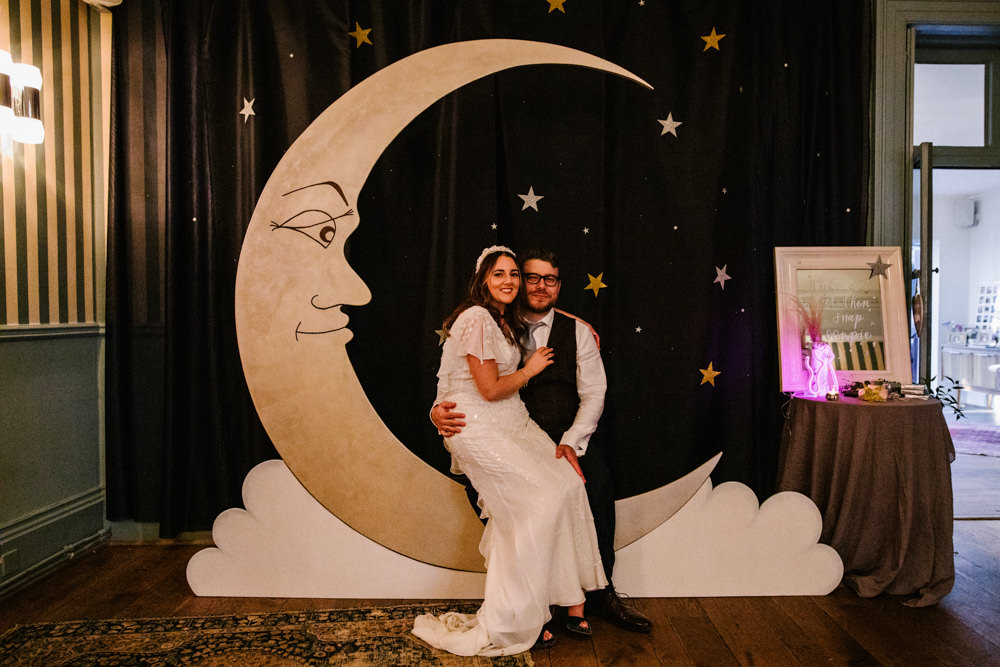 Photo Booth Backdrop Moon Crescent Titchwell Manor Wedding Honey and The Moon Photography