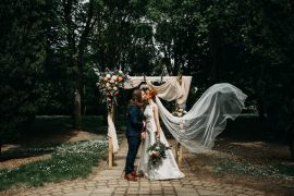 Tree Cathedral Wedding Milton Keynes Miracle Moments Flower Arch Backdrop Flowers Fabric
