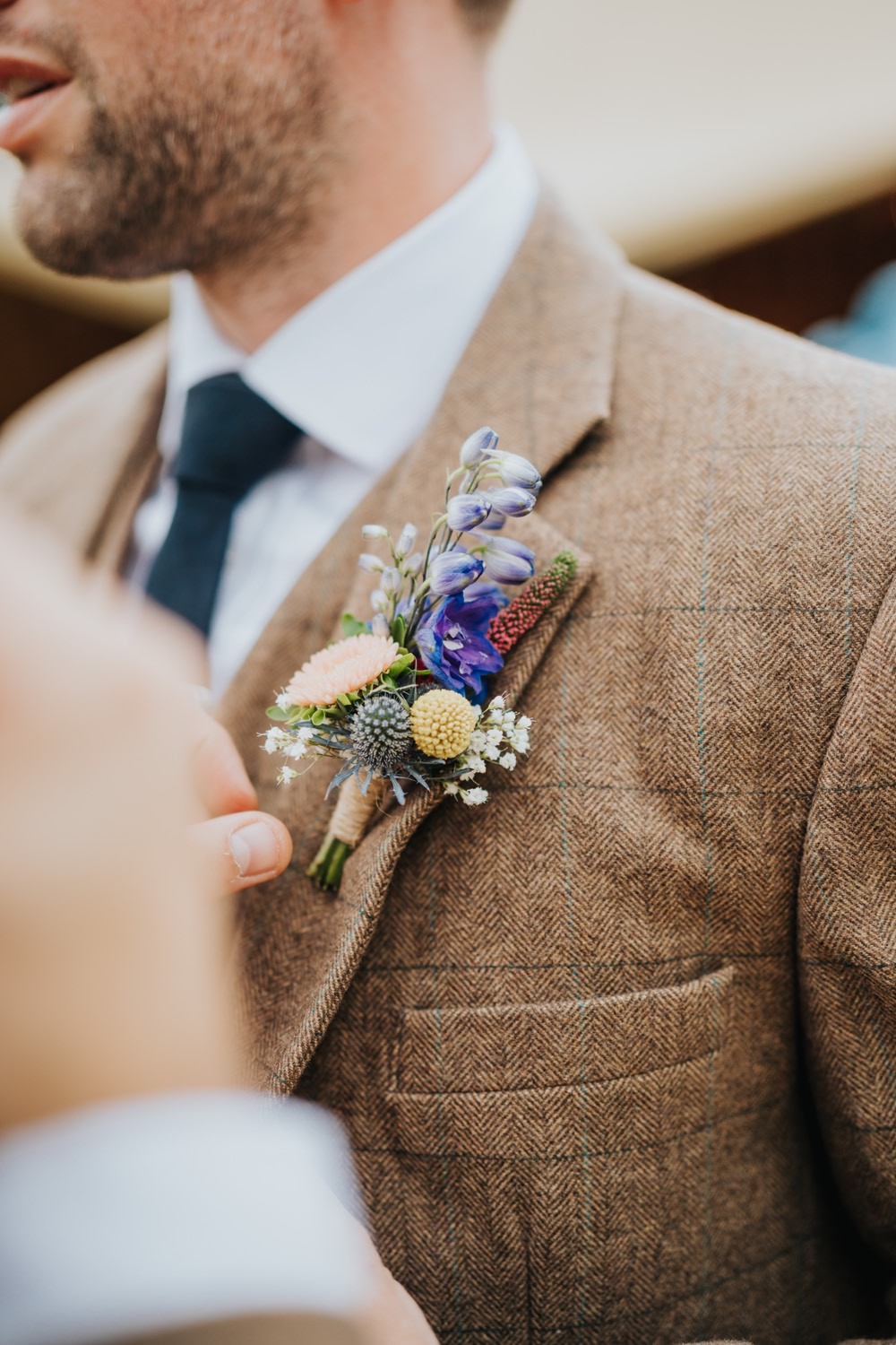 Groom Suit Brown Tweed Buttonhole Animal Lovers Wedding Bloom Weddings