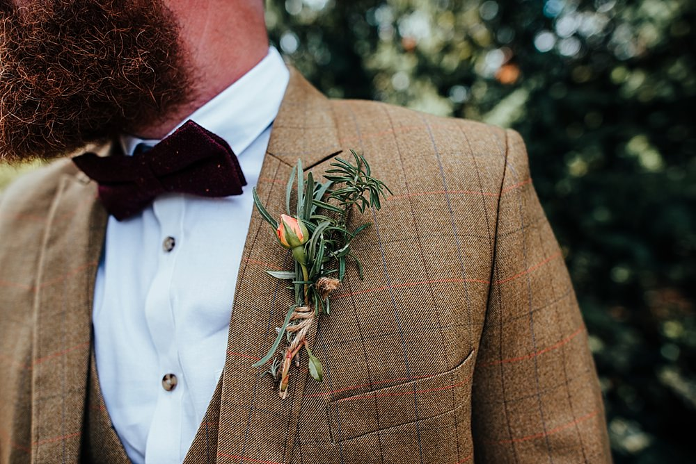 Groom Suit Brown Tan Tweed Bow Tie Buttonhole Boho Rustic Wedding This and That Photography