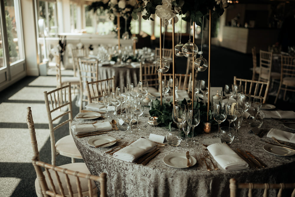 Table Tablescape Round Decor Decorations Tall Centrepiece Flowers Hanging Tea Lights Combermere Abbey Wedding Damian Brandon Photography