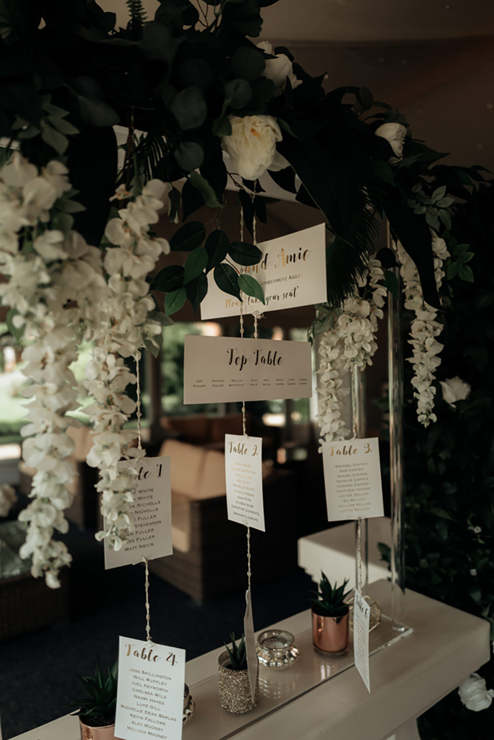 Table Plan Seating Chart Flowers Combermere Abbey Wedding Damian Brandon Photography