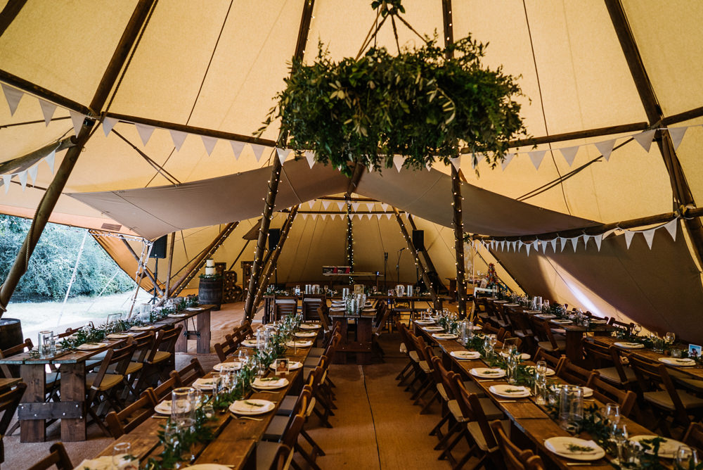 Tipi Long Tables Decor Greenery Foliage Hoop Bunting Lodge Farm Wedding David Boynton Wedding Photography