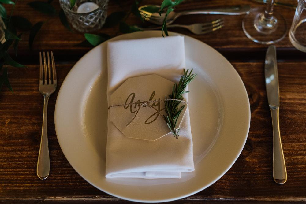 Place Setting Decor Rosemary Coaster Calligraphy Lodge Farm Wedding David Boynton Wedding Photography