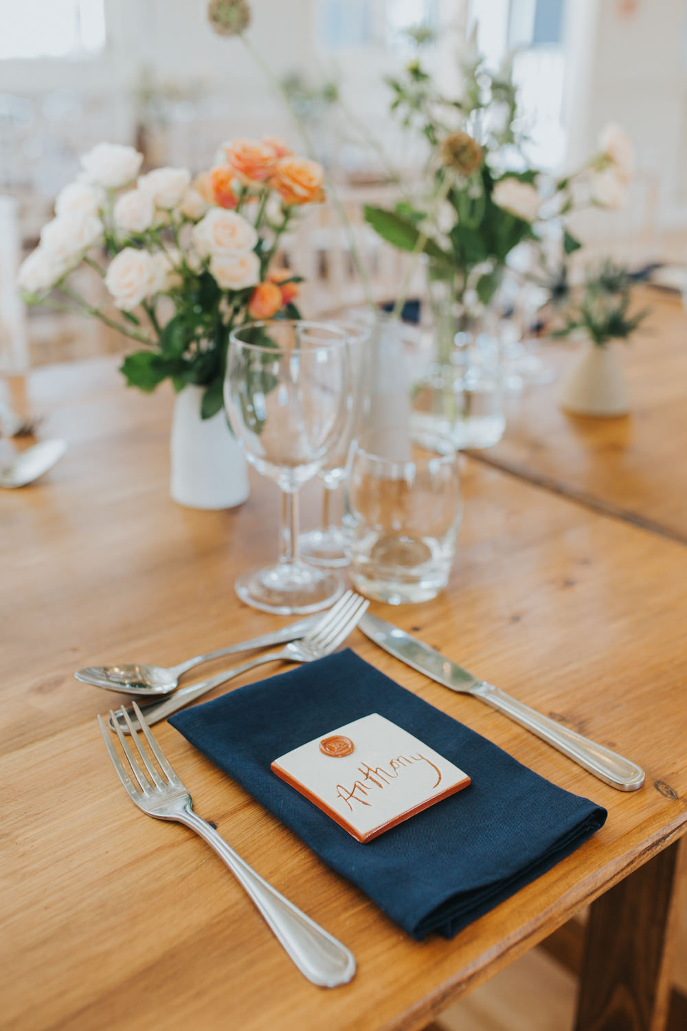 Place Setting Decor Navy Napkin Calligraphy Place Name Card Copper Wax Seal Coaster Favour Thorpeness Country Club Wedding Charlotte Razzell Photography