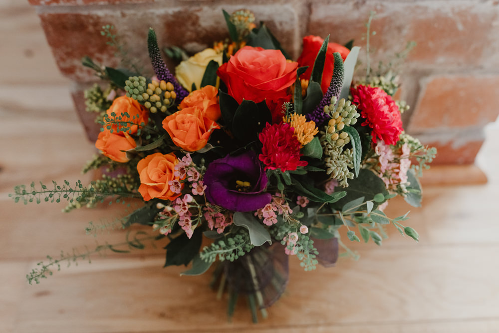 Bouquet Flowers Bride Bridal Orange Rose Arches Dean Clough Wedding Stevie Jay Photography