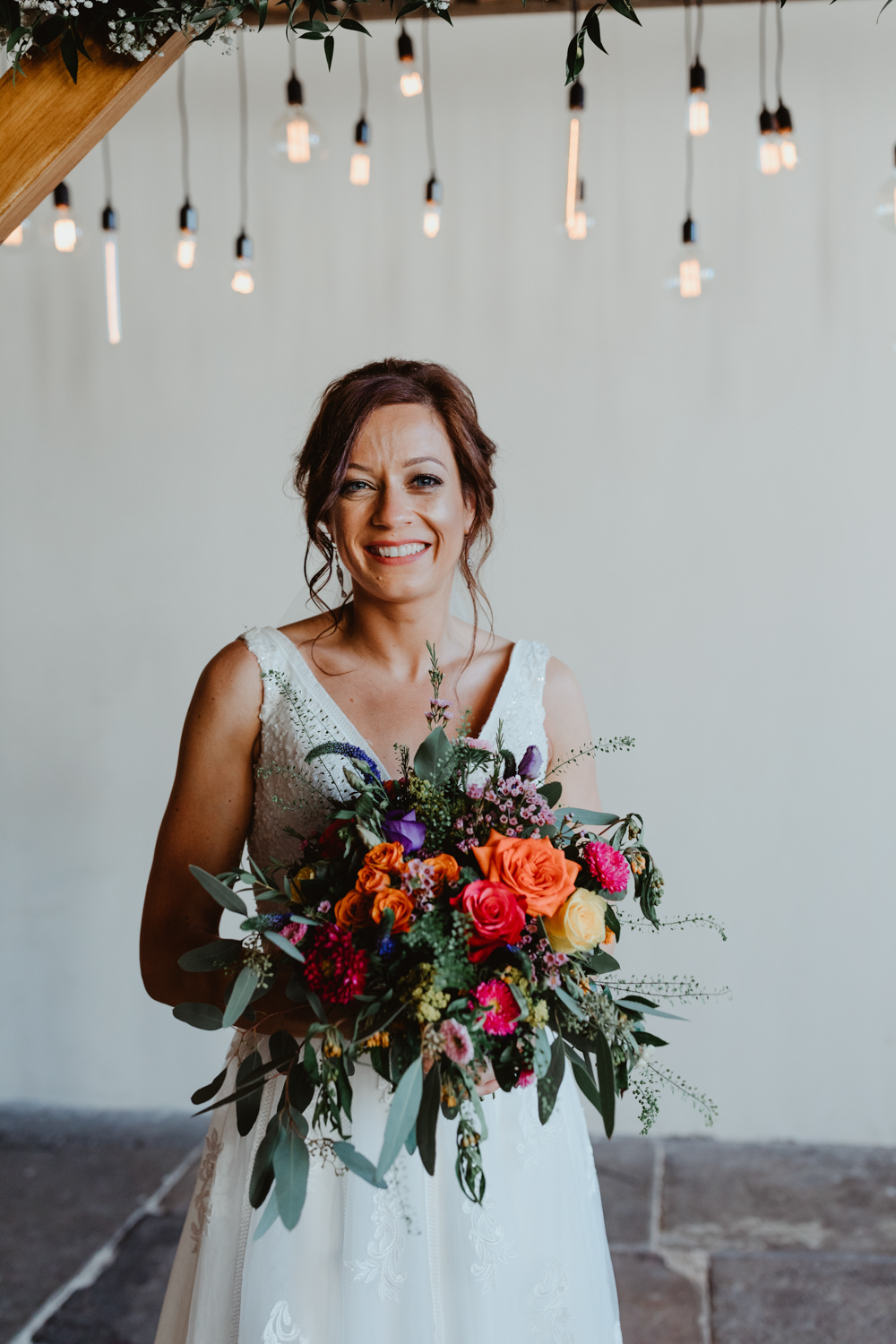 Bouquet Flowers Bride Bridal Orange Rose Greenery Foliage Purple Arches Dean Clough Wedding Stevie Jay Photography