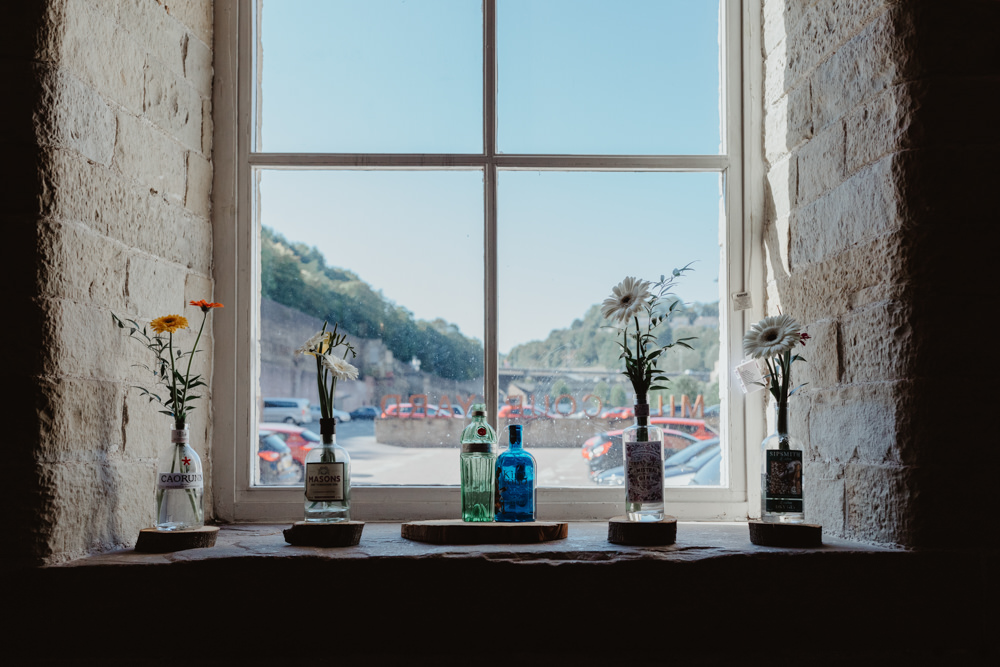 Table Decor Centrepiece Flowesr Bottle Flowers Windowcill Arches Dean Clough Wedding Stevie Jay Photography