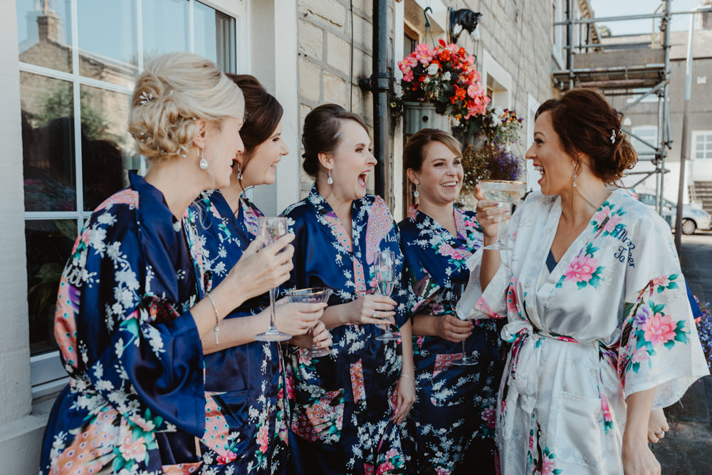 Bride Bridal Dressing Gown Robe Bridesmaids Arches Dean Clough Wedding Stevie Jay Photography