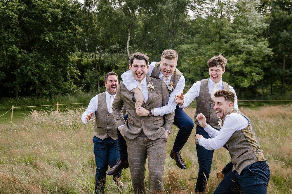 Groom Suit Check Blush Pink Tie Groomsmen Chaucer Barn Wedding Katherine Ashdown Photography
