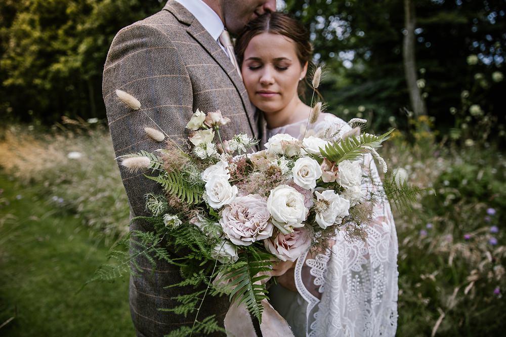 Bouquet Flowers Bride Bridal Blush Rose Fern Ribbon Chaucer Barn Wedding Katherine Ashdown Photography