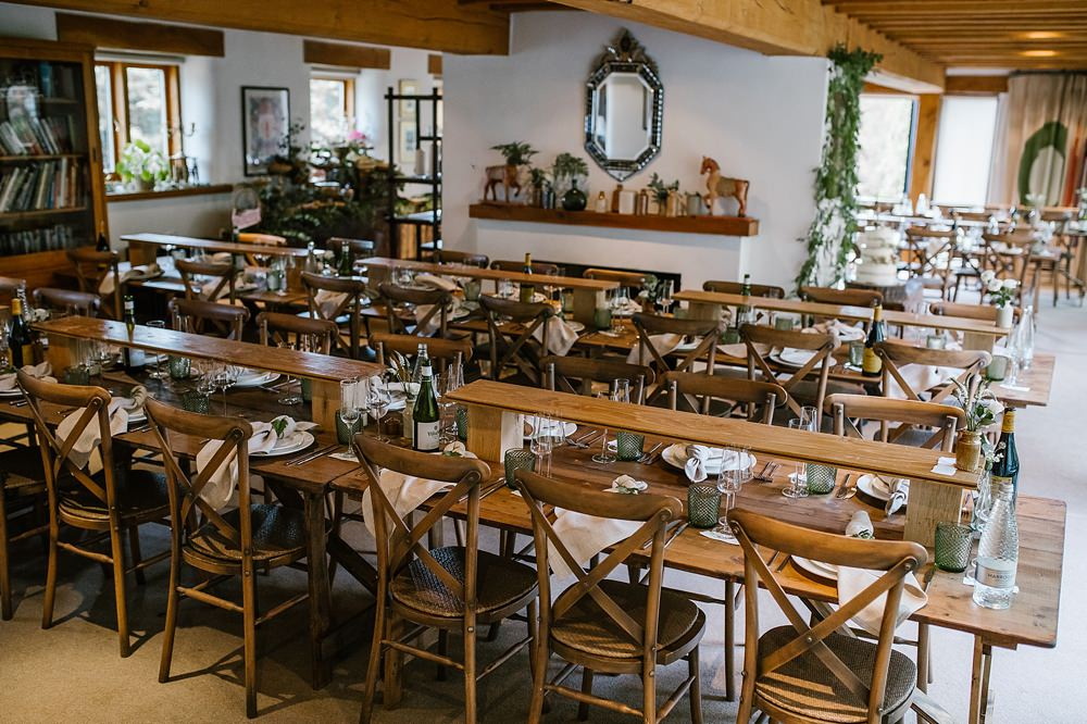 Long Wooden Tables Decor Chaucer Barn Wedding Katherine Ashdown Photography