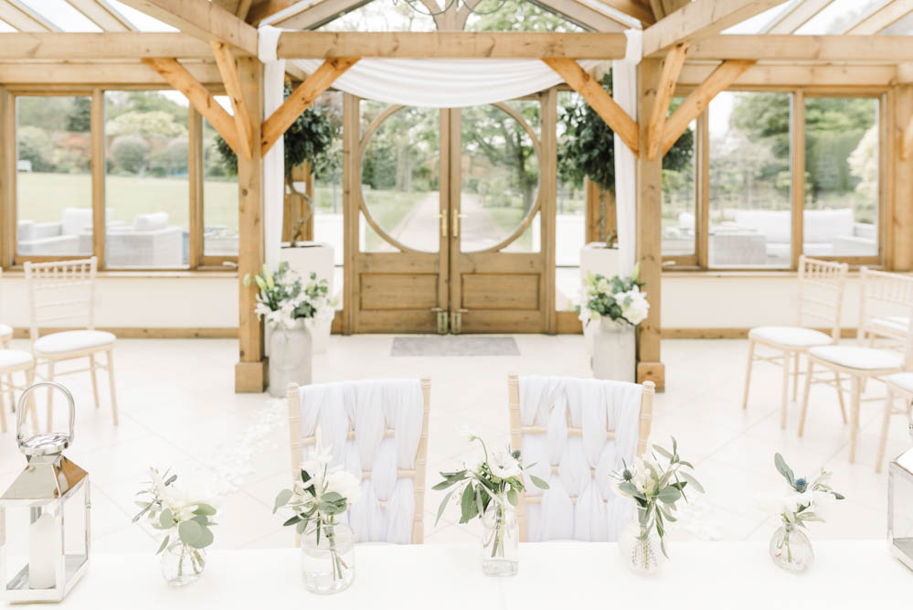 Ceremony Table Flowers Chair Ribbons Dove Grey Wedding Danielle Smith Photography
