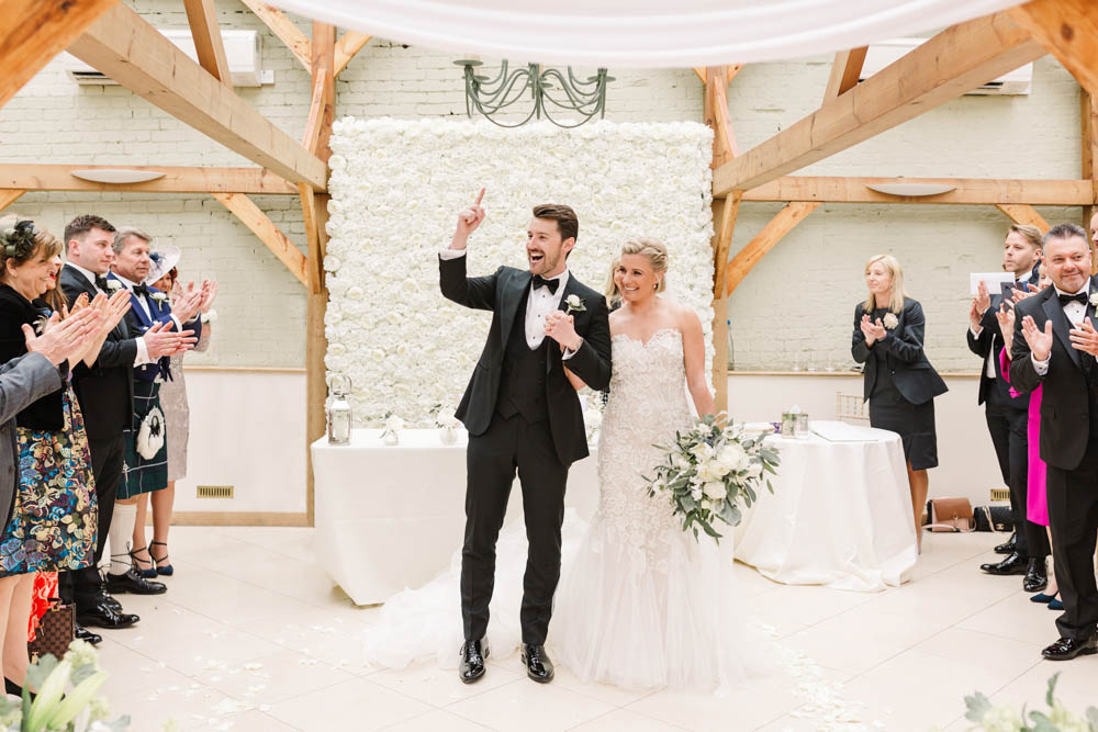 Flower Wall Dove Grey Wedding Danielle Smith Photography