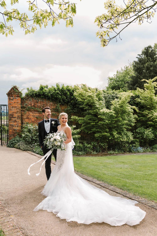 Dove Grey Wedding Danielle Smith Photography Dress Gown Bride Bridal Pronovias 3D Lace Gemstone Embroidery Train Veil