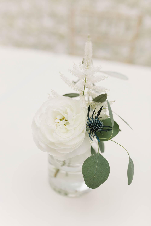 Flowers Jar Thistle Rose Astilbe Dove Grey Wedding Danielle Smith Photography