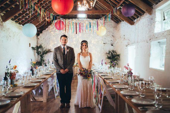 Old Barn Wedding Joshua Rhys Photography Rainbow Colourful Decor Decorations Balloons Bunting
