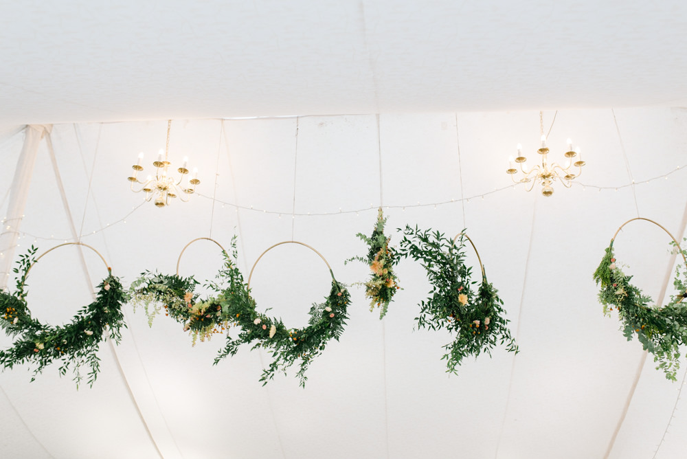 Marquee Fairy Lights Hoops Wreaths Greenery Foliage Flower Haning Suspended Perch Inn Wedding Captured By Katrina