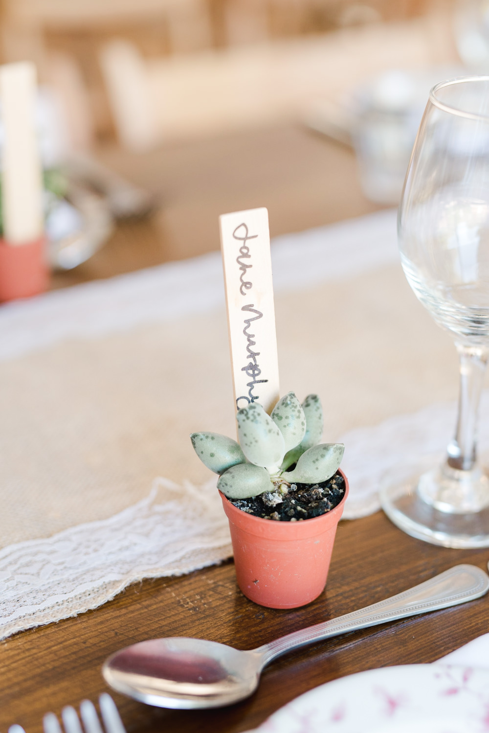 Succulent Place Name Favour Perch Inn Wedding Captured By Katrina