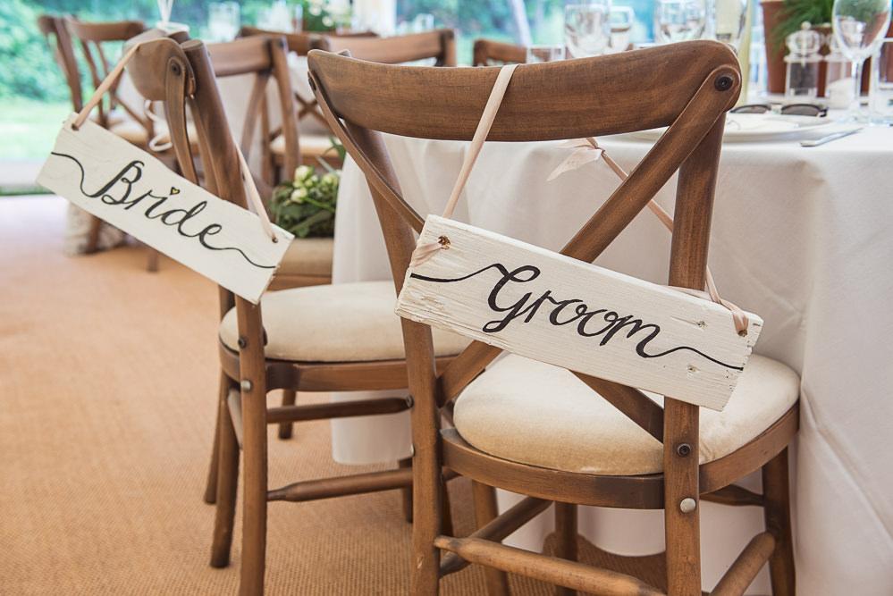 Bride Groom Chair Signs Sopley Lake Wedding One Thousand Words