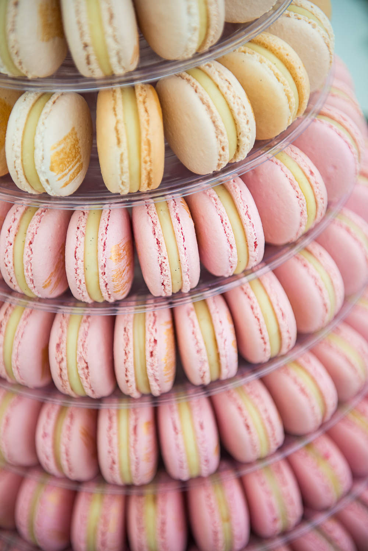 Cake Macaron Tower Gold Pink Sopley Lake Wedding One Thousand Words