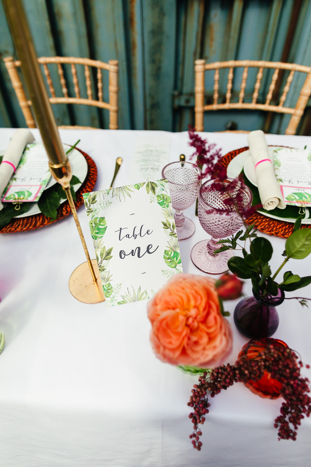 Outdoor Table Tablescape Flowers Candles Tropical Wedding Inspiration Emily Little Photography