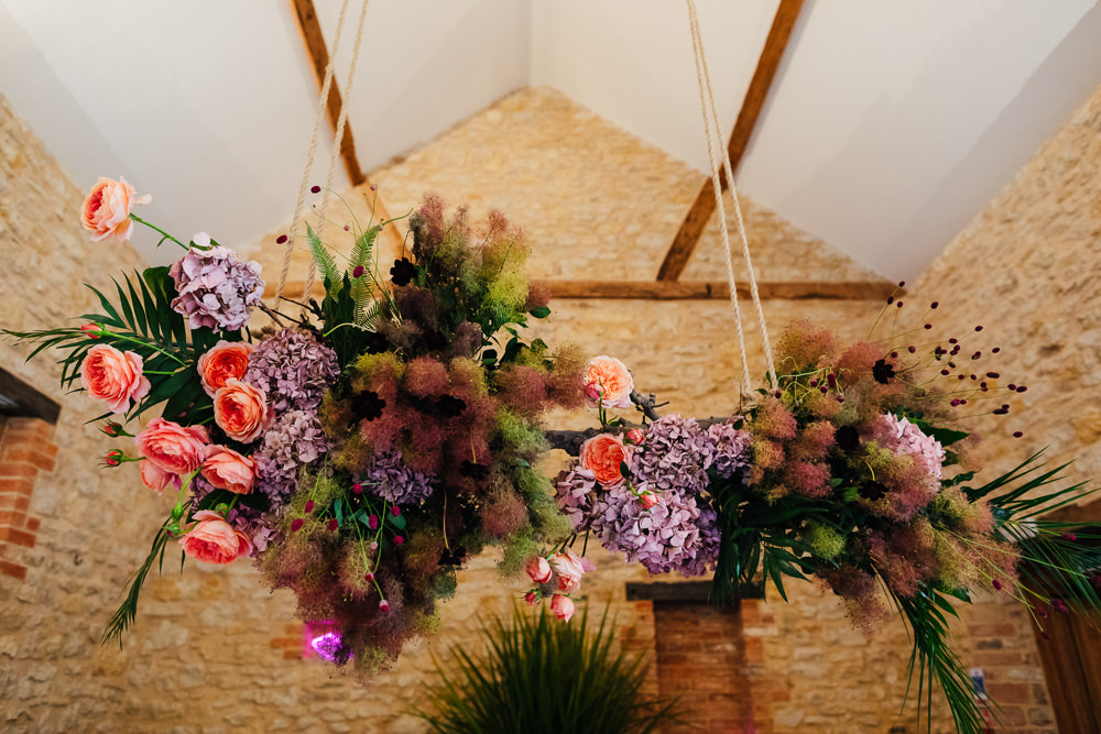 Barn Plants Hanging Suspended Table Tablescape Flowers Tropical Wedding Inspiration Emily Little Photography