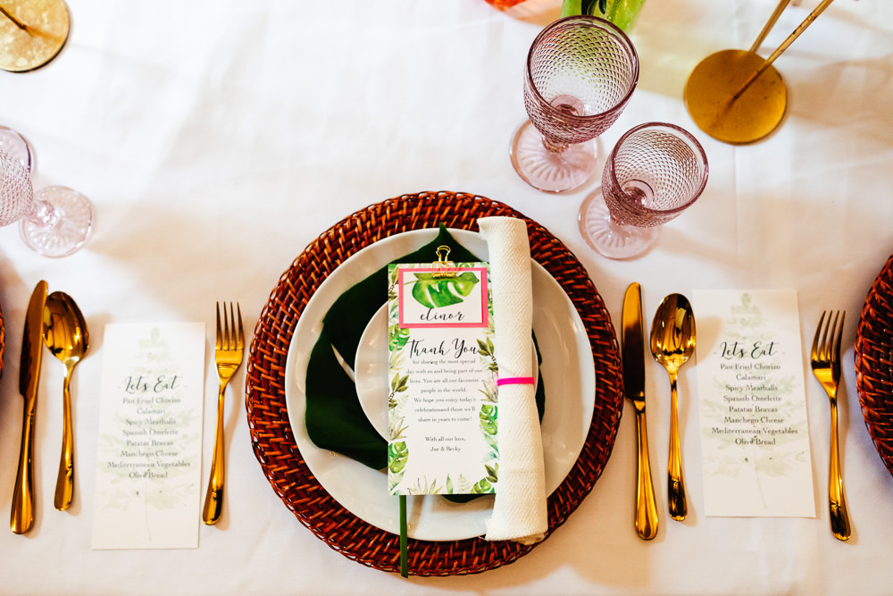 Place Setting Decor Menu Tropical Wedding Inspiration Emily Little Photography
