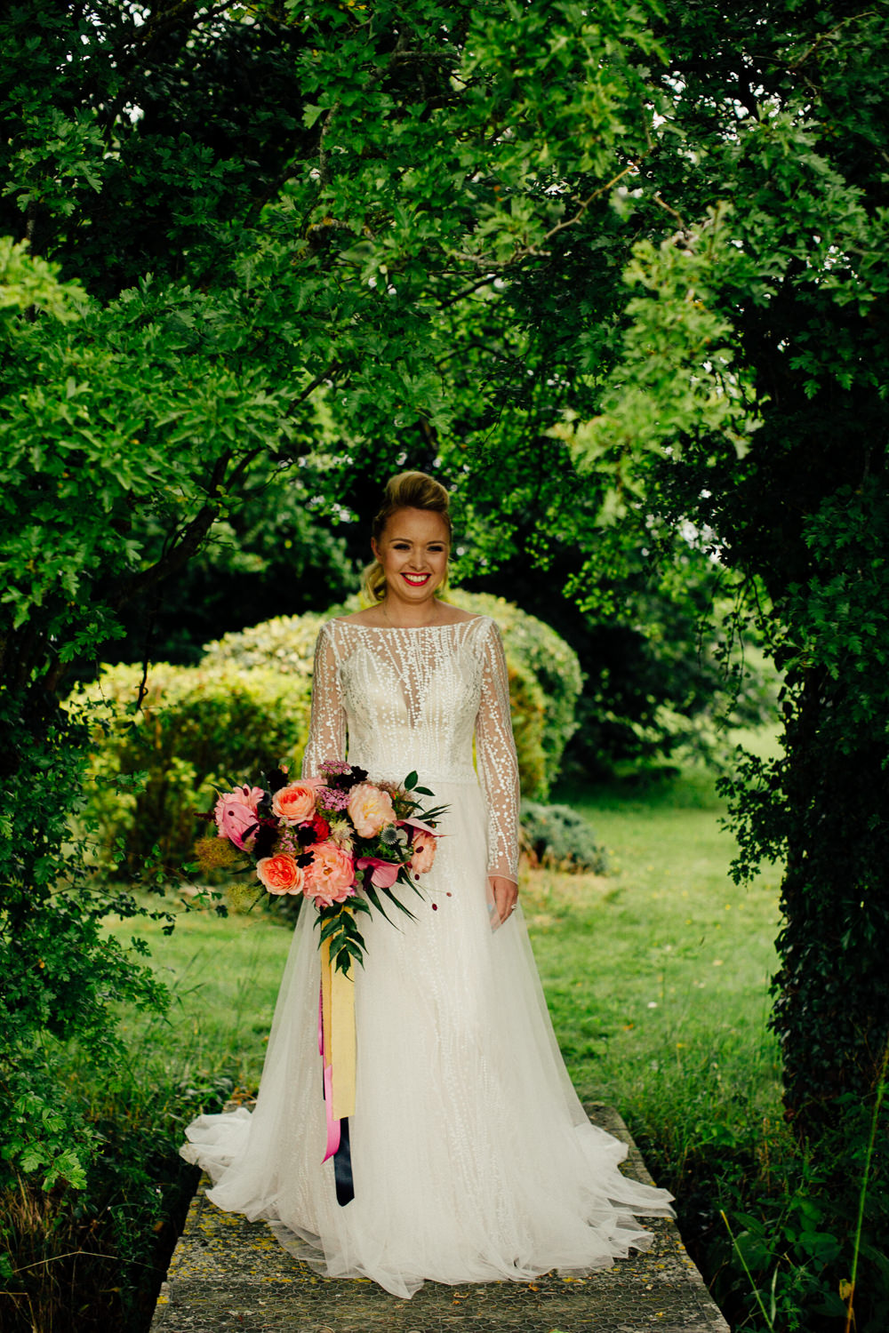Dress Gown Bride Bridal Long Sleeves Tropical Wedding Inspiration Emily Little Photography