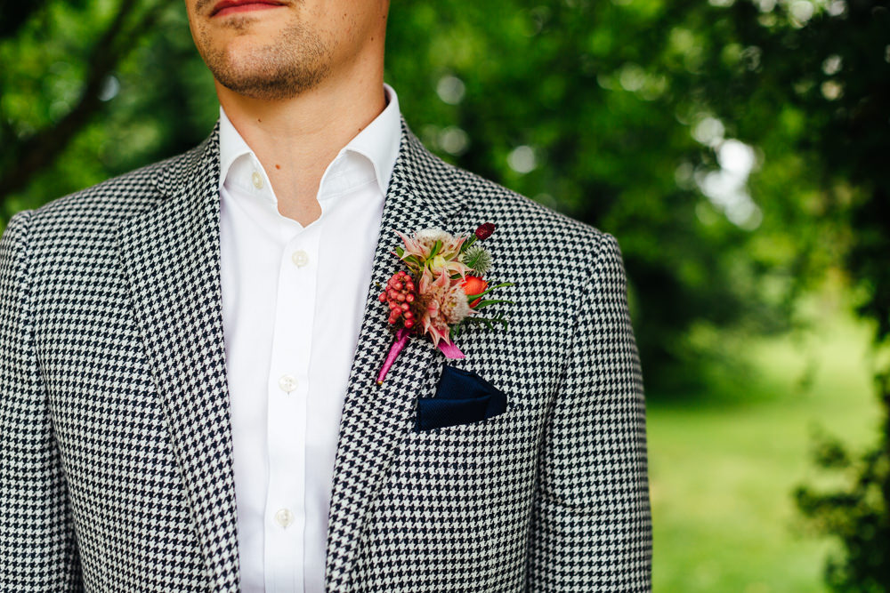 Groom Suit Check Blazer Open Collar Tropical Wedding Inspiration Emily Little Photography