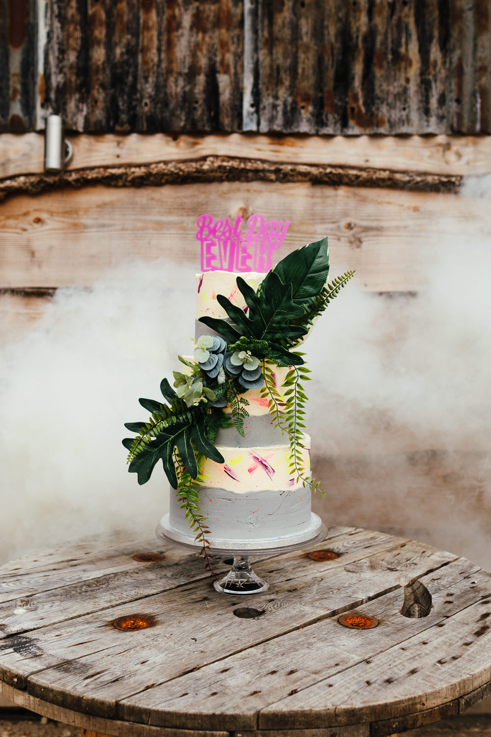 Cake Succulents Topper Grey Colourful Foliage Greenery Tropical Wedding Inspiration Emily Little Photography