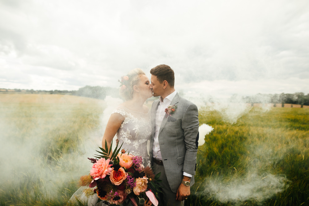 Smoke Bomb Portrait Photo Tropical Wedding Inspiration Emily Little Photography