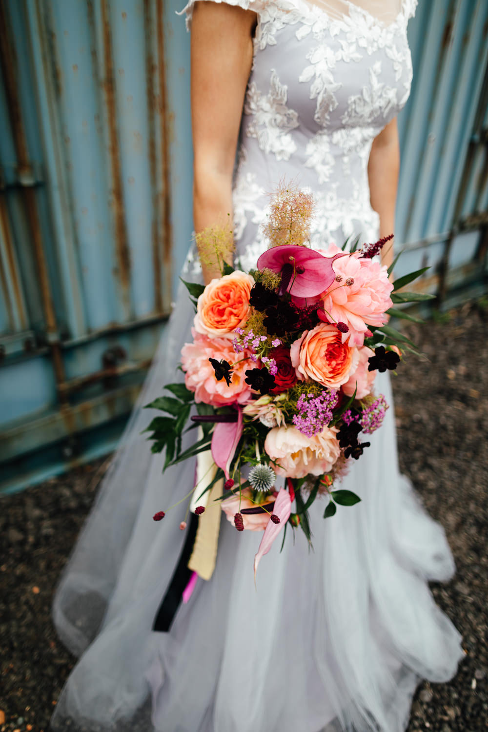 Bouquet Flowers Bride Bridal Flamingo Plant Rose Cosmos Thistle Tropical Wedding Inspiration Emily Little Photography
