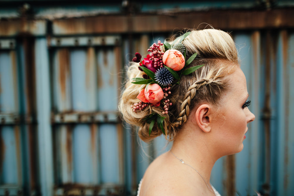 Bride Bridal Hair Style Up Do Plait Braid Flowers Tropical Wedding Inspiration Emily Little Photography