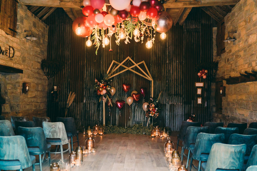 Installation Hanging Suspended Edison Light Bulbs Lighting Aisle Ceremony Candles Balloon Wedding Ideas Leesha Williams Photography