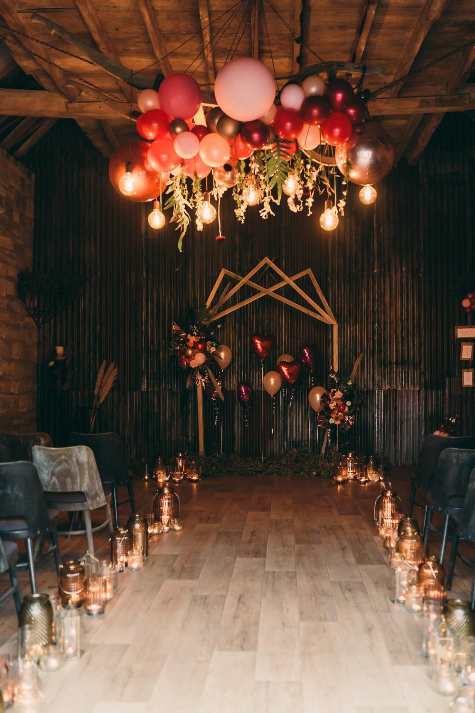 Installation Hanging Suspended Edison Light Bulbs Lighting Aisle Ceremony Candles Balloon Wedding Ideas Leesha Williams Photography