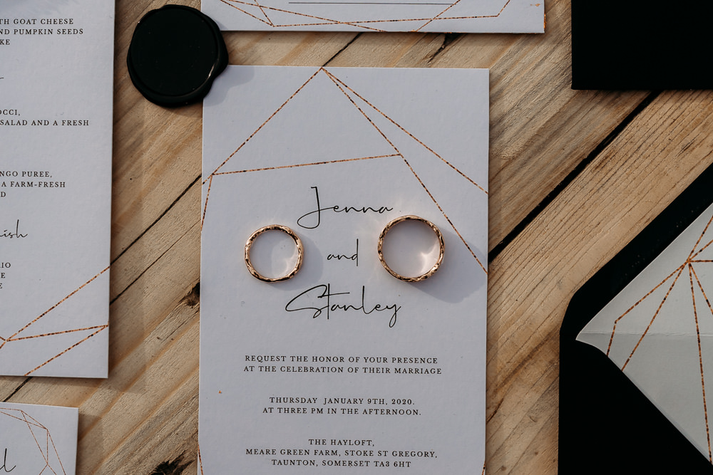 Modern Copper Stationery Invite Invitation Balloon Wedding Ideas Leesha Williams Photography
