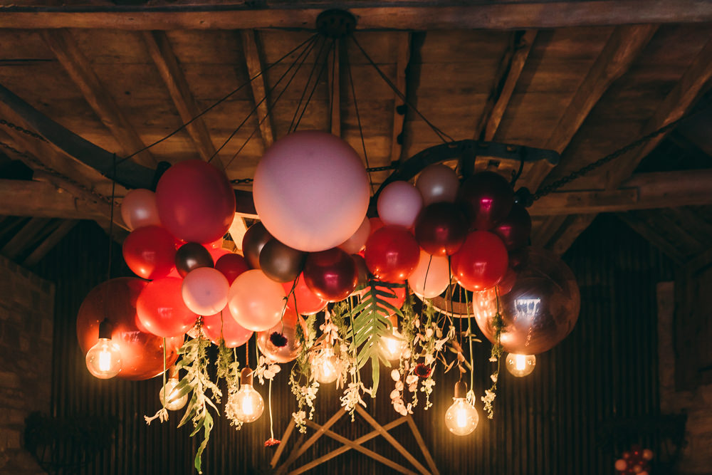 Installation Hanging Suspended Edison Light Bulbs Lighting Balloon Wedding Ideas Leesha Williams Photography
