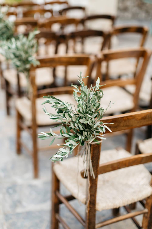 Pew End Flowers Aisle Greenery Chairs Crete Wedding HannaMonika Wedding Photography