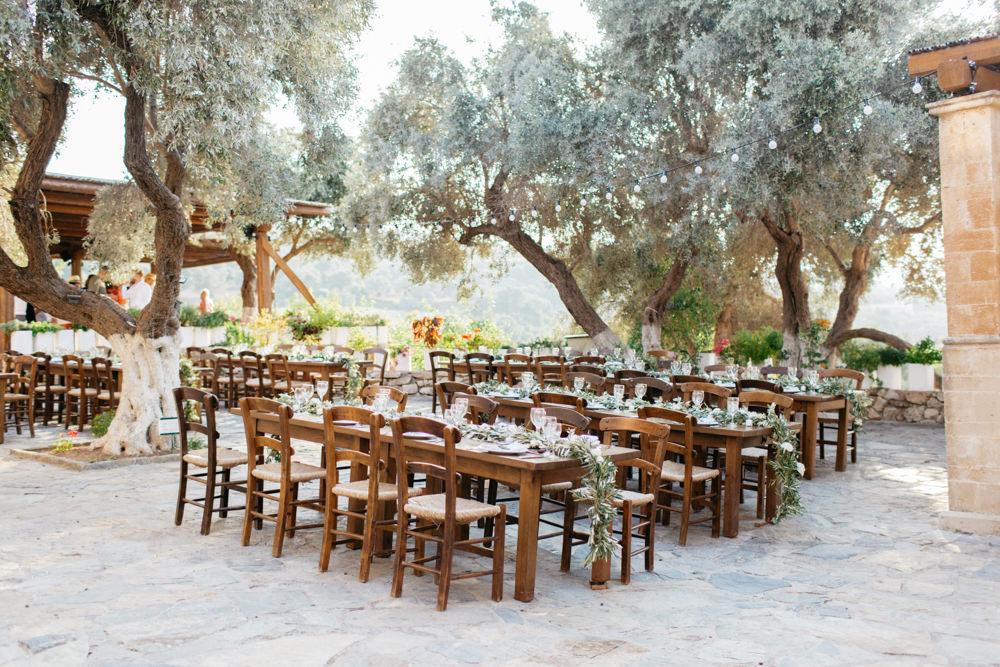 Festoon Lights Outdoor Reception Tables Crete Wedding HannaMonika Wedding Photography