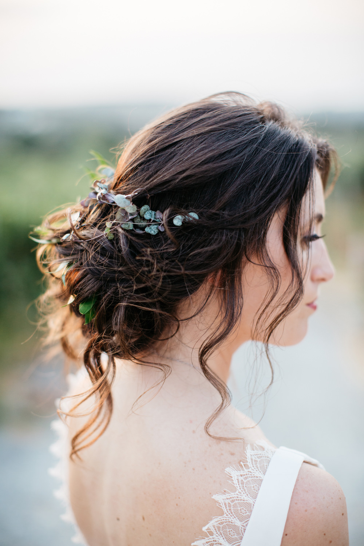 Bride Bridal Hair Style Up Do Greenery Foliage Crete Wedding HannaMonika Wedding Photography