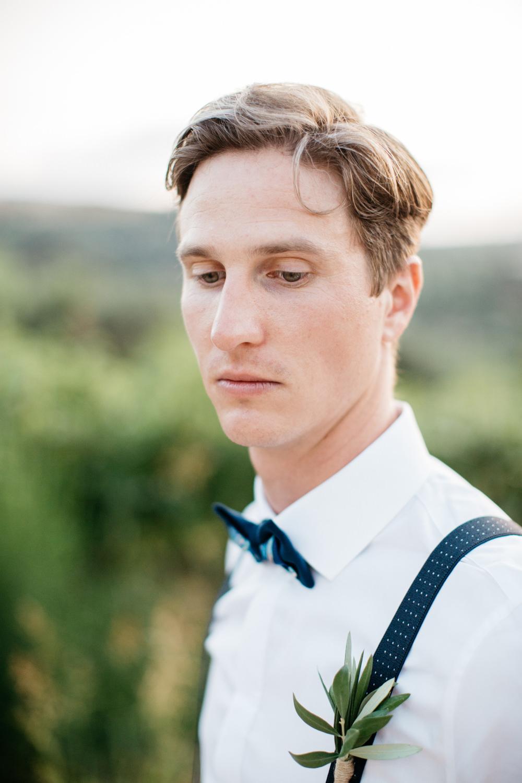 Groom Suit Blue Bow Tie Braces Crete Wedding HannaMonika Wedding Photography