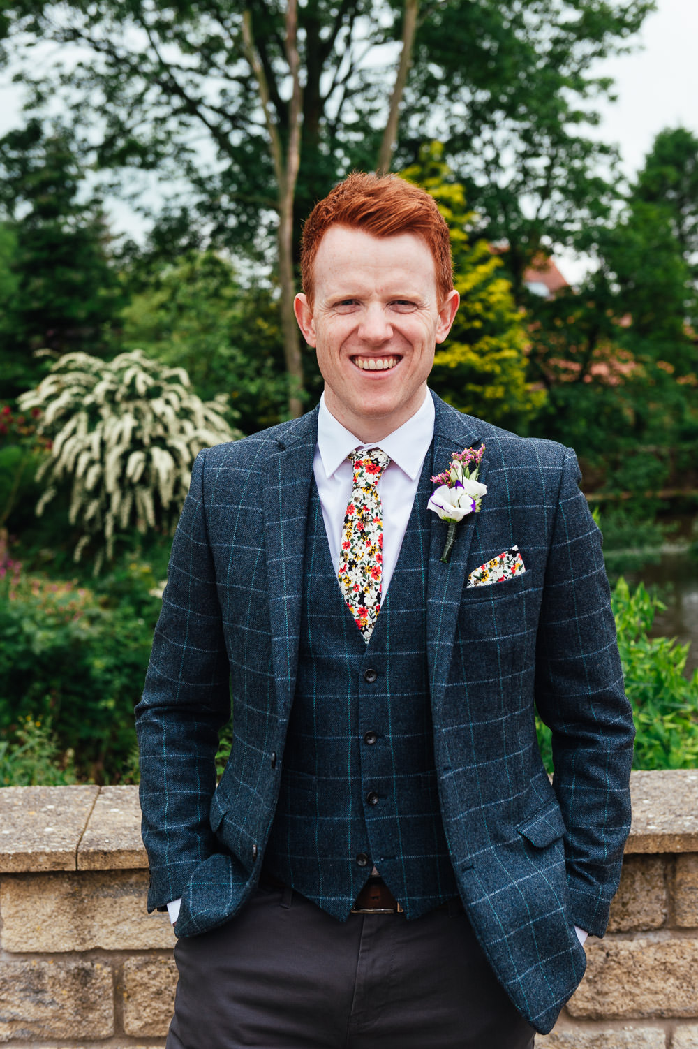 Groom Suit Blue Check Floral Tie Pocketsquare DIY Barn Wedding Jessica Grace Photography