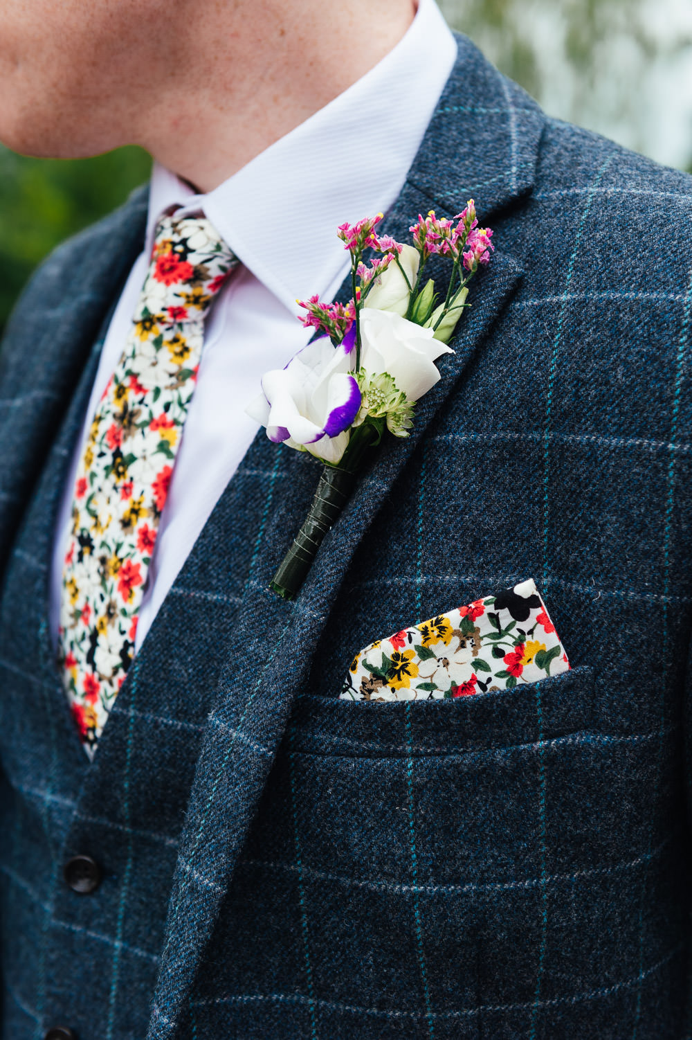Groom Suit Blue Check Floral Tie Pocketsquare Buttonhole DIY Barn Wedding Jessica Grace Photography