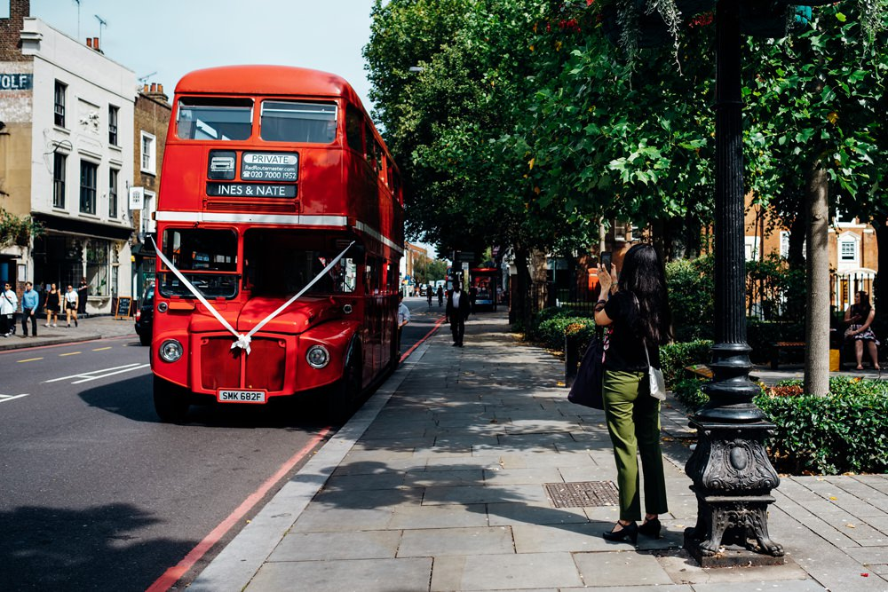 Red London Bus Double Decker Transport East London Wedding Marianne Chua Photography