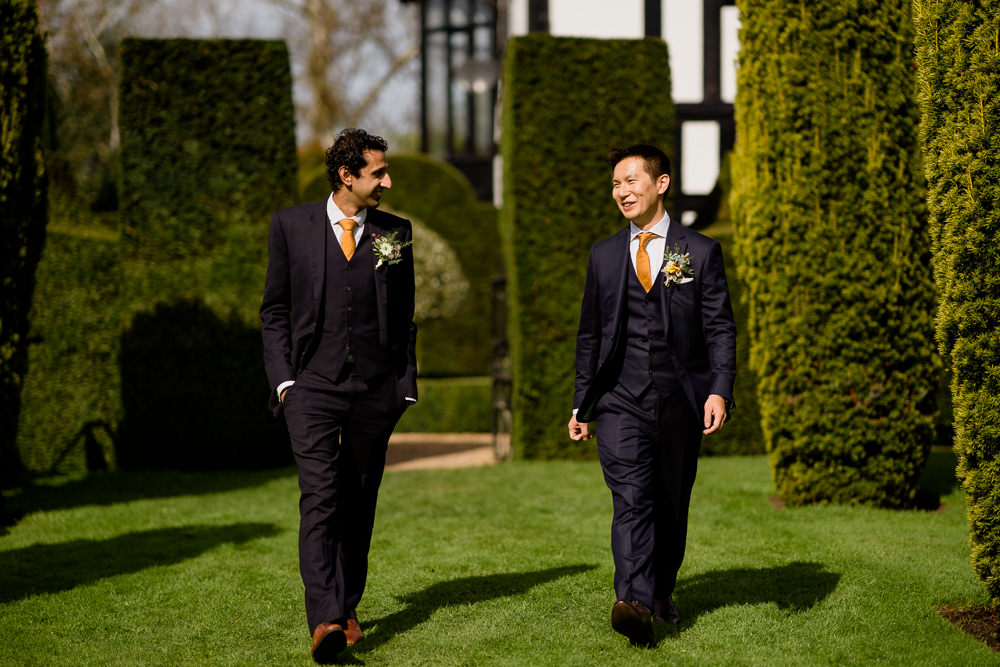 Groom Groomsmen Suits Mustard Yellow Tie Holford Estate Wedding Voyteck Photography