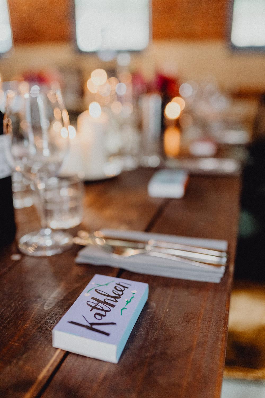 Matchbox Favours Place Name Intimate Pub Wedding Heather Sham Photography